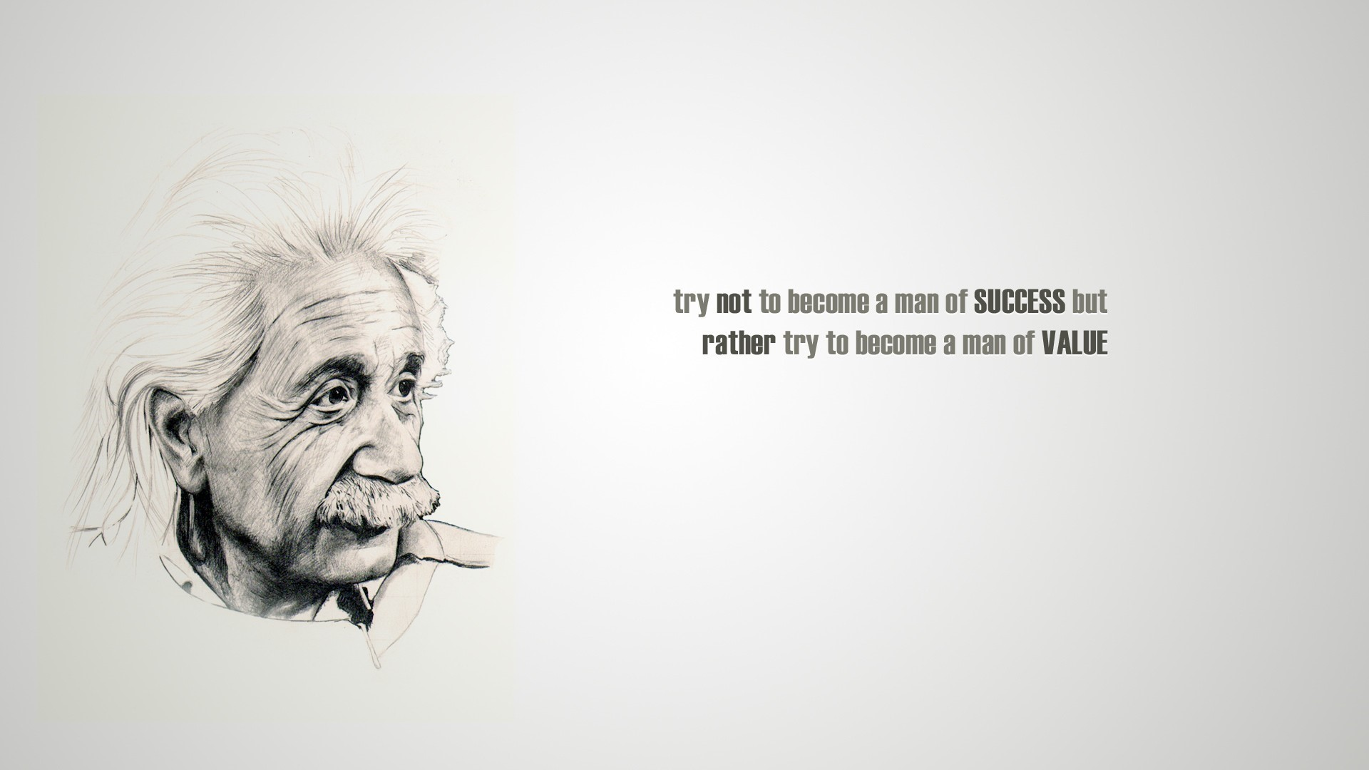 Albert Einstein Famous Quote on Success and Value HD Wallpaper 1920x1080