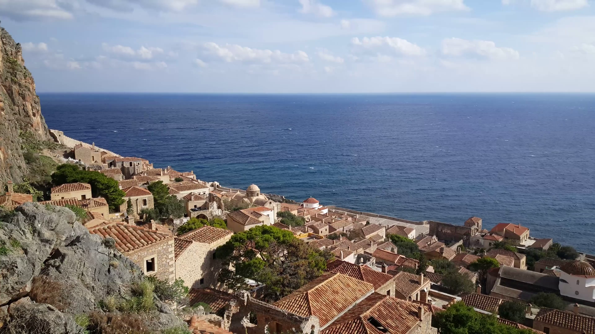 Houses in the village Monemvasia Greece Stock Video Footage 1920x1080