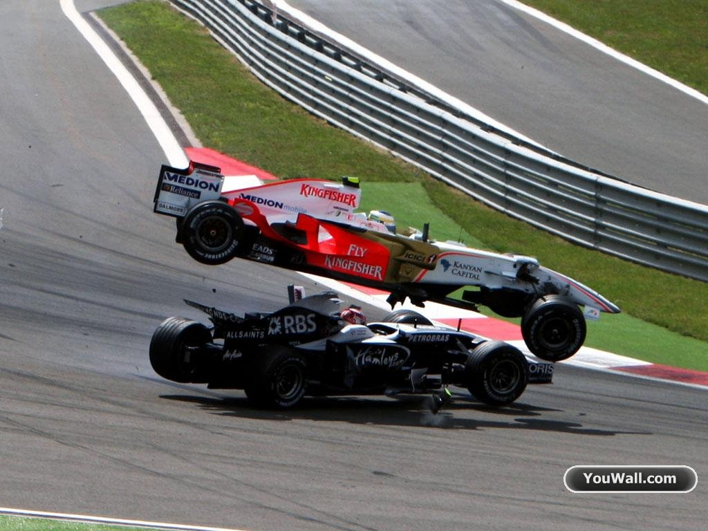 YouWall   F1 Car Crash Wallpaper   wallpaperwallpapersfree wallpaper 1024x768