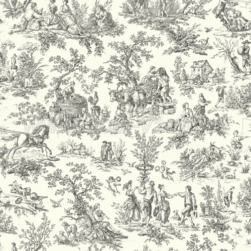 Details about Wallpaper Designer French Country Black on Off White 500x500