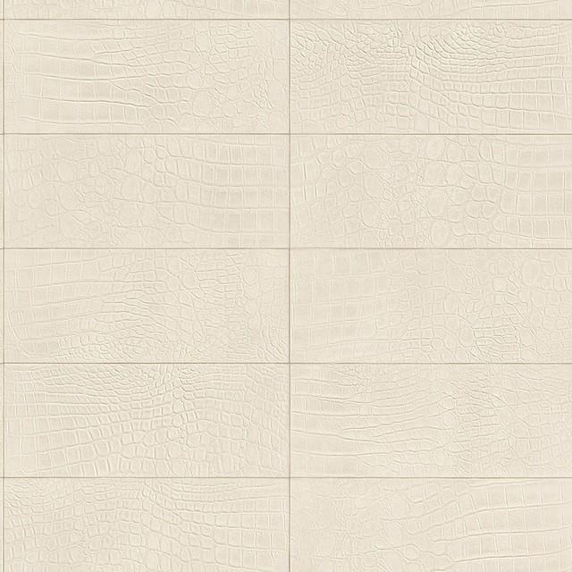 Contemporary Faux Leather Off White Soft Crocodile Wallpaper R3671 640x640