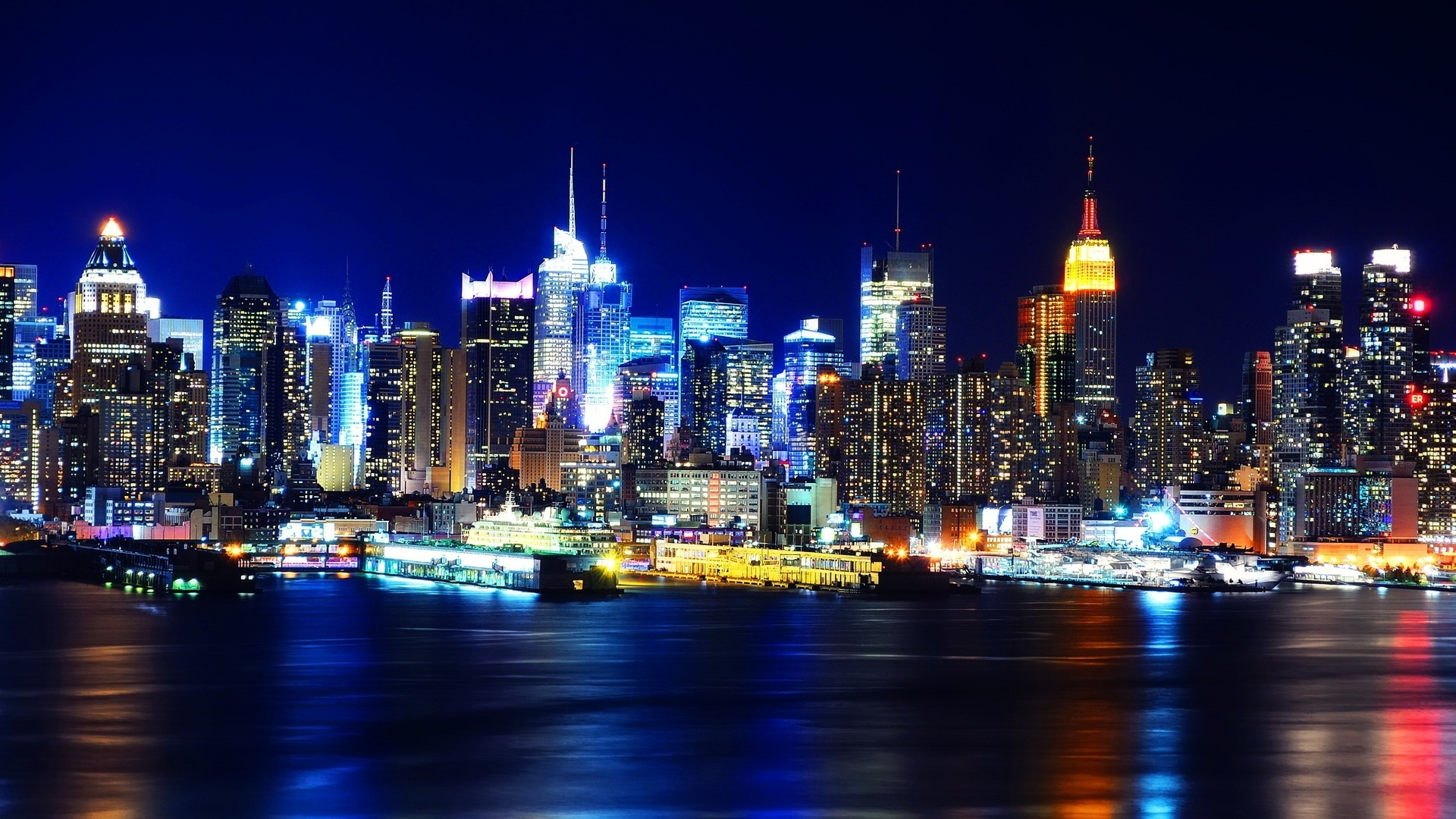 New York City at Night Wallpaper HD wallpaper background 1920x1080