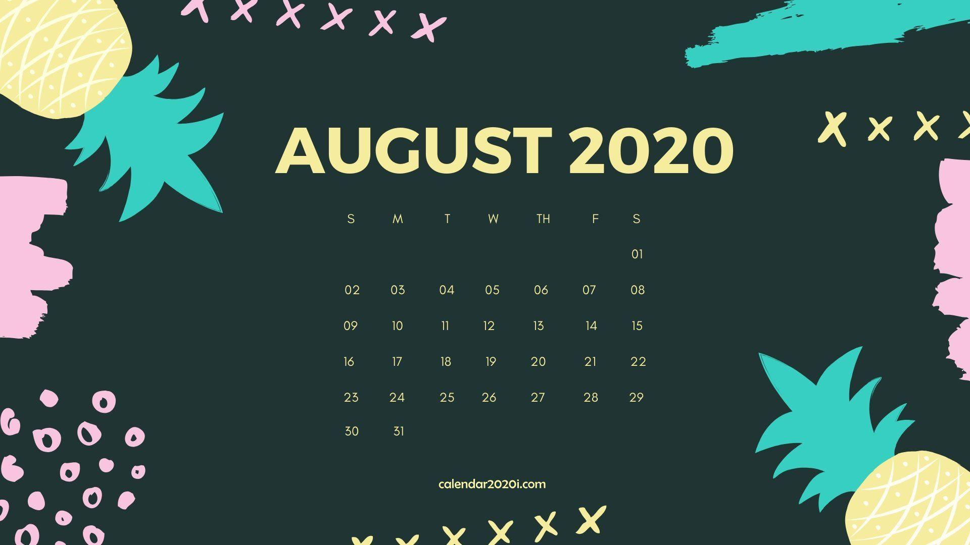 August 2020 Calendar Desktop Wallpaper in 2019 Calendar 1920x1080