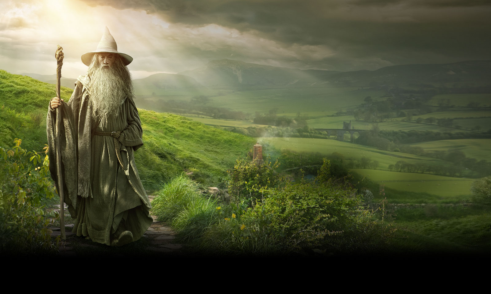 The Hobbit An Unexpected Journey Gandalf Wallpaper c Warner Bros 1600x960