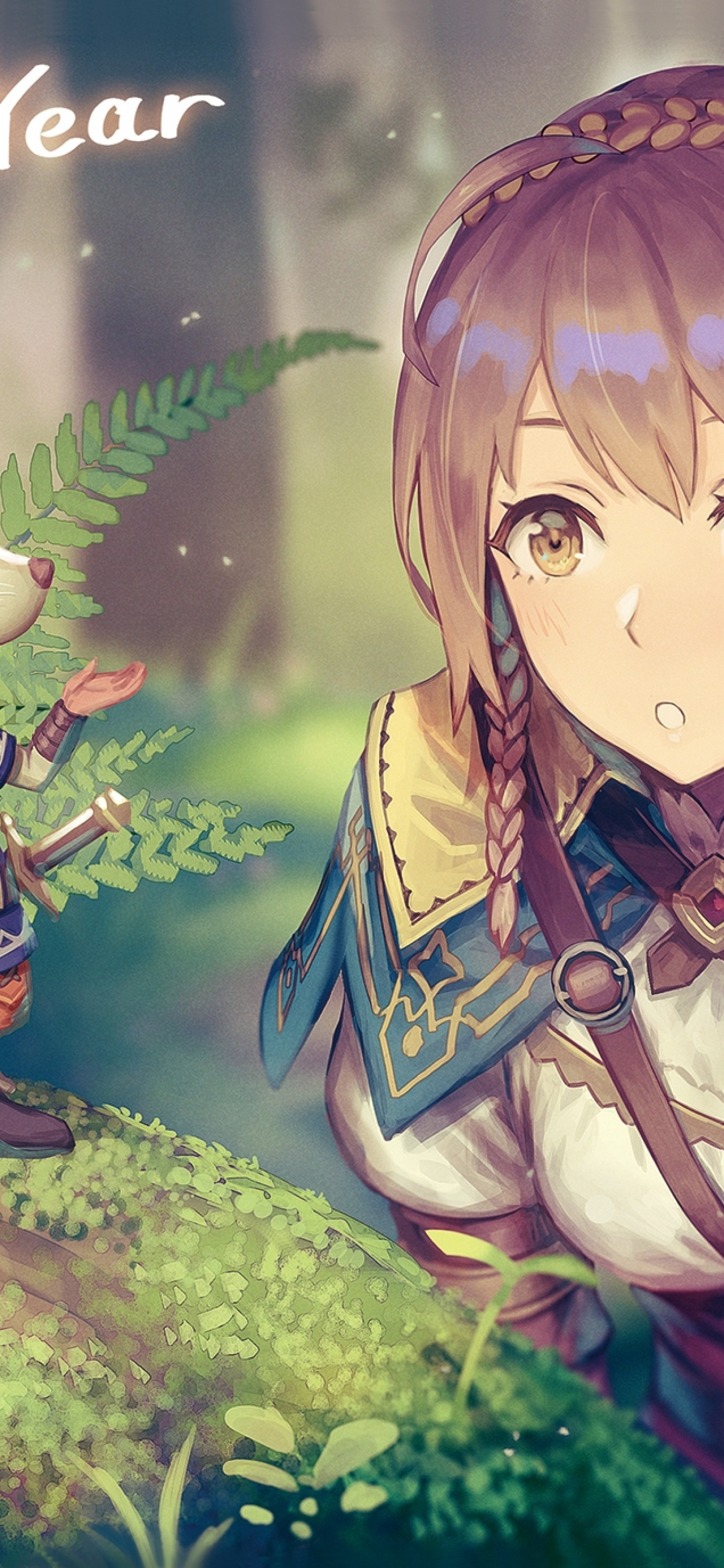 Download 1440x3120 Anime Girl Adventurer Forest Light Armor 1440x3120