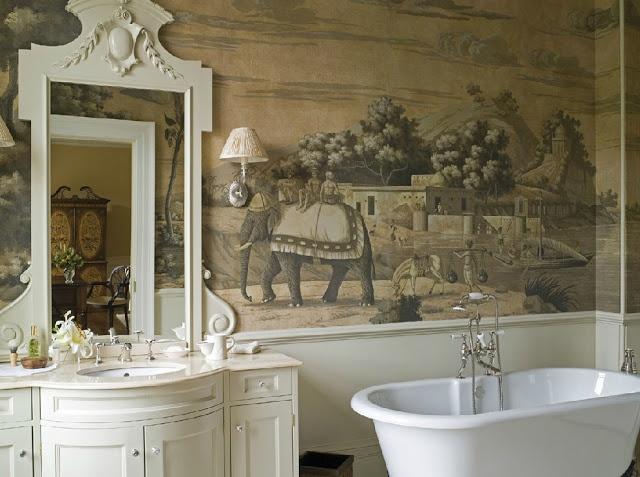 Beautiful wallpaper bathroom Mi casa es Pinterest 640x477