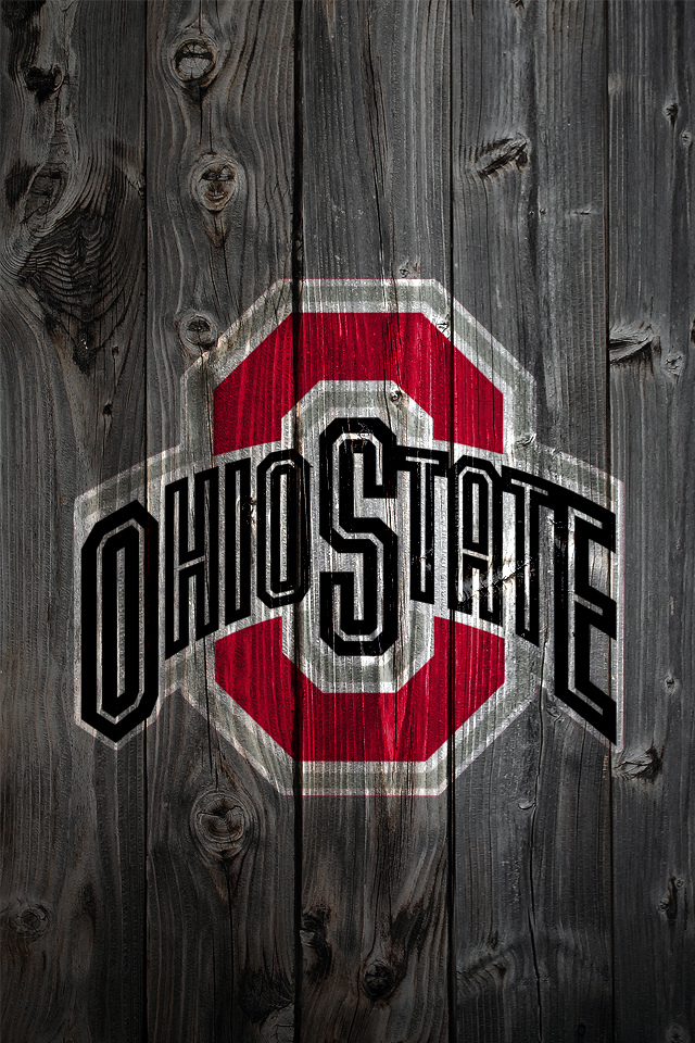 Ohio State Buckeyes Logo on Wood Background   iPhone 4 wallpaper 640x960