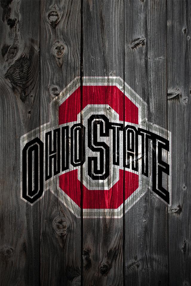 Ohio State Buckeyes Logo on Wood Background - iPhone 4 wallpaper