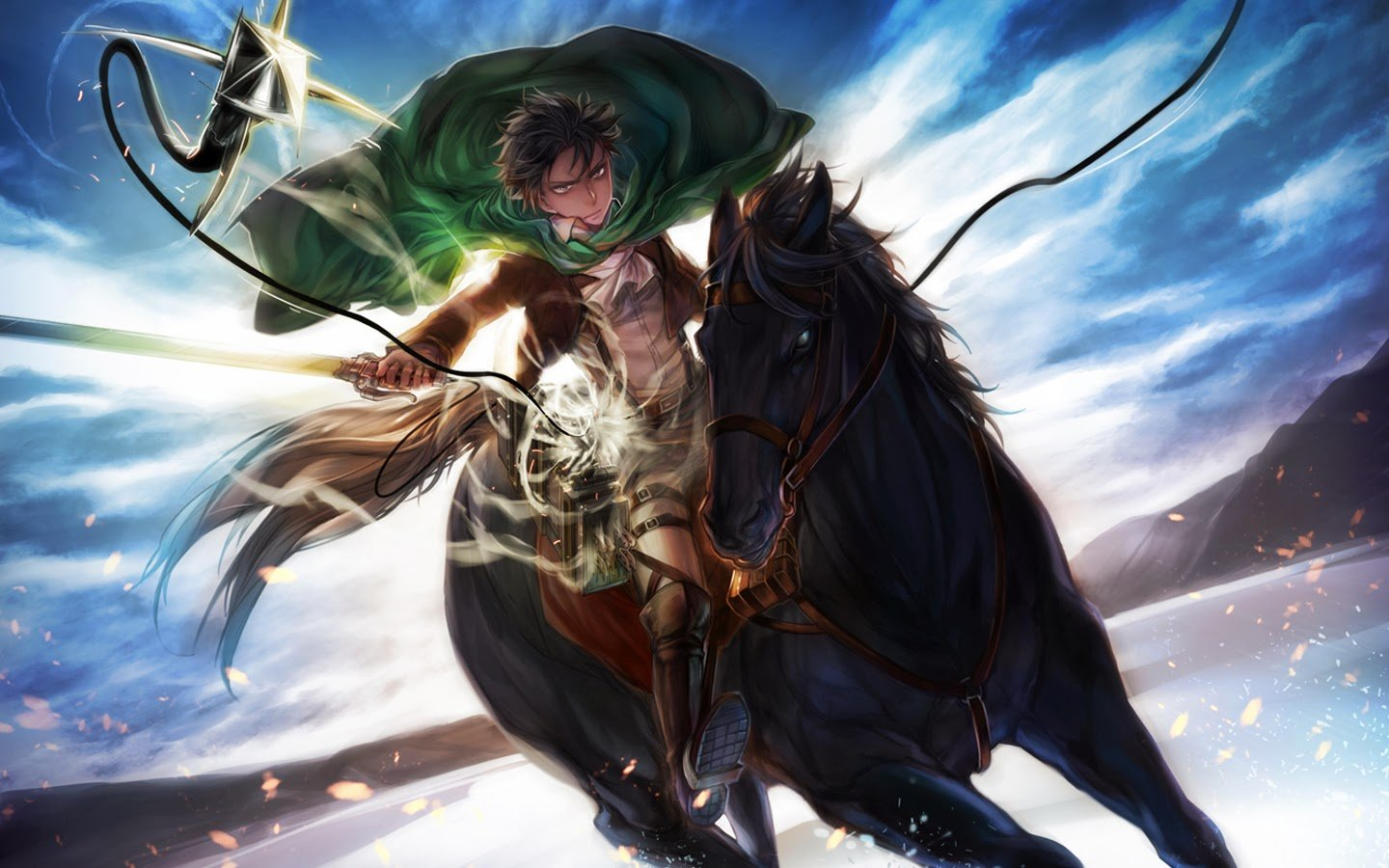 Attack On Titan Iphone Wallpaper Levi Levi riding horse attack on 1440x900