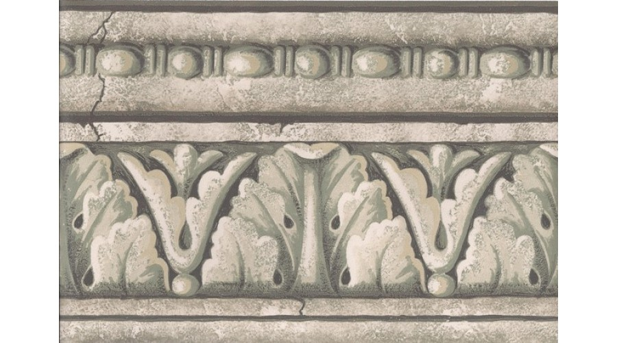 Home Green Grey White Stone Column Molding Wallpaper Border 900x500