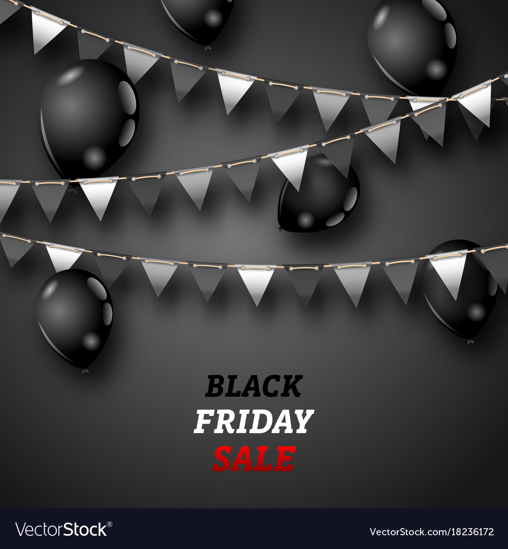 Black friday wallpaper with shiny balloons and Vector Image 1000x1080