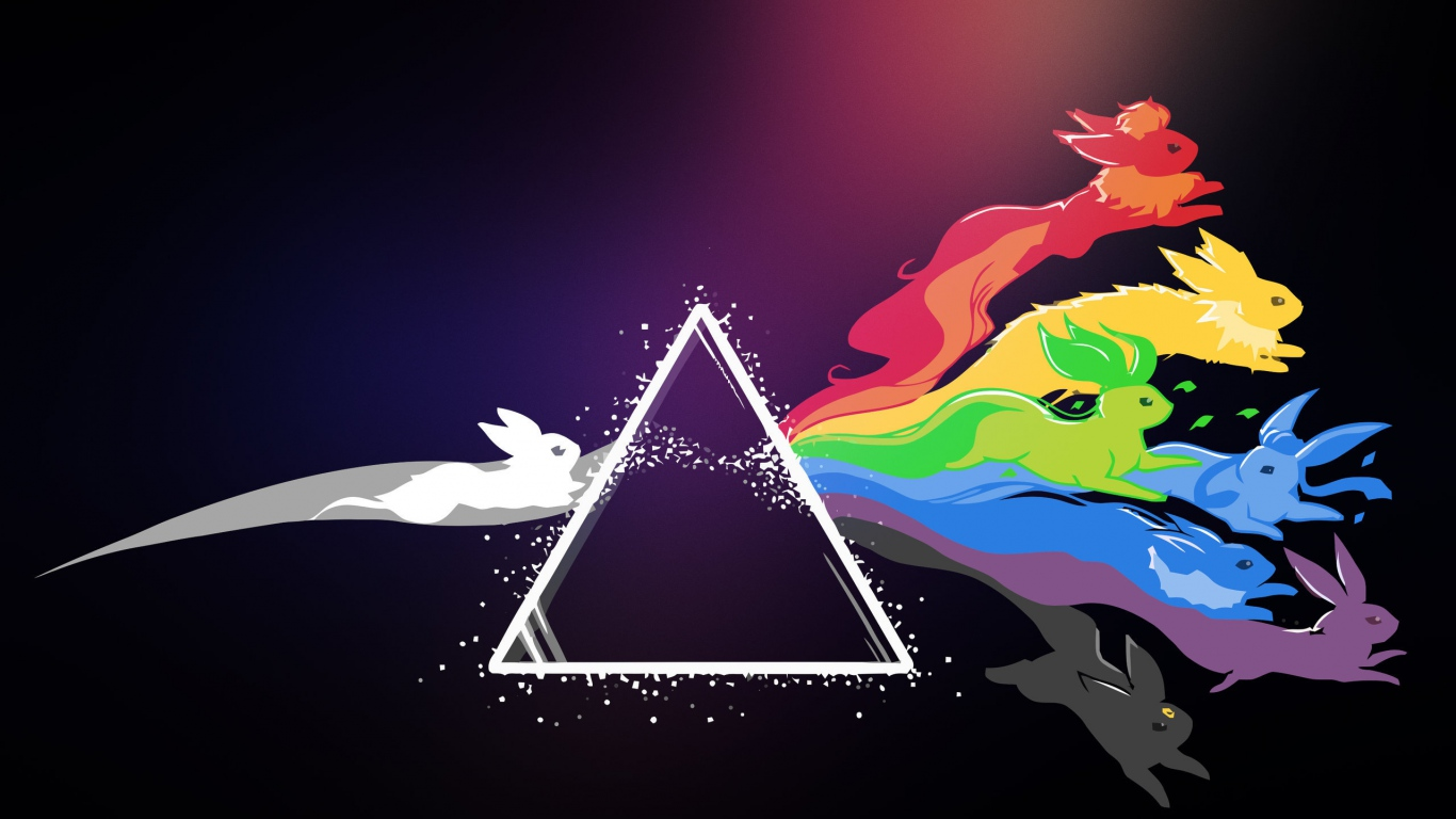 Wallpaper 1366x768 Pink floyd Pokemon Bright Logo laptop 1366x768 1366x768