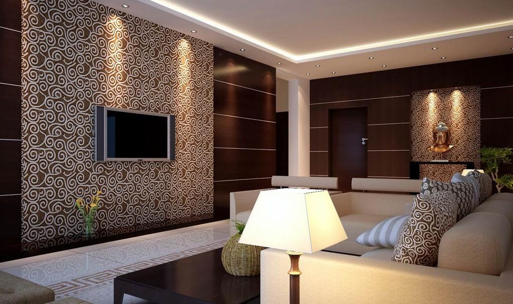 Plain Modern Living Room Wallpaper Ideas Furniture Sets Tv Wall