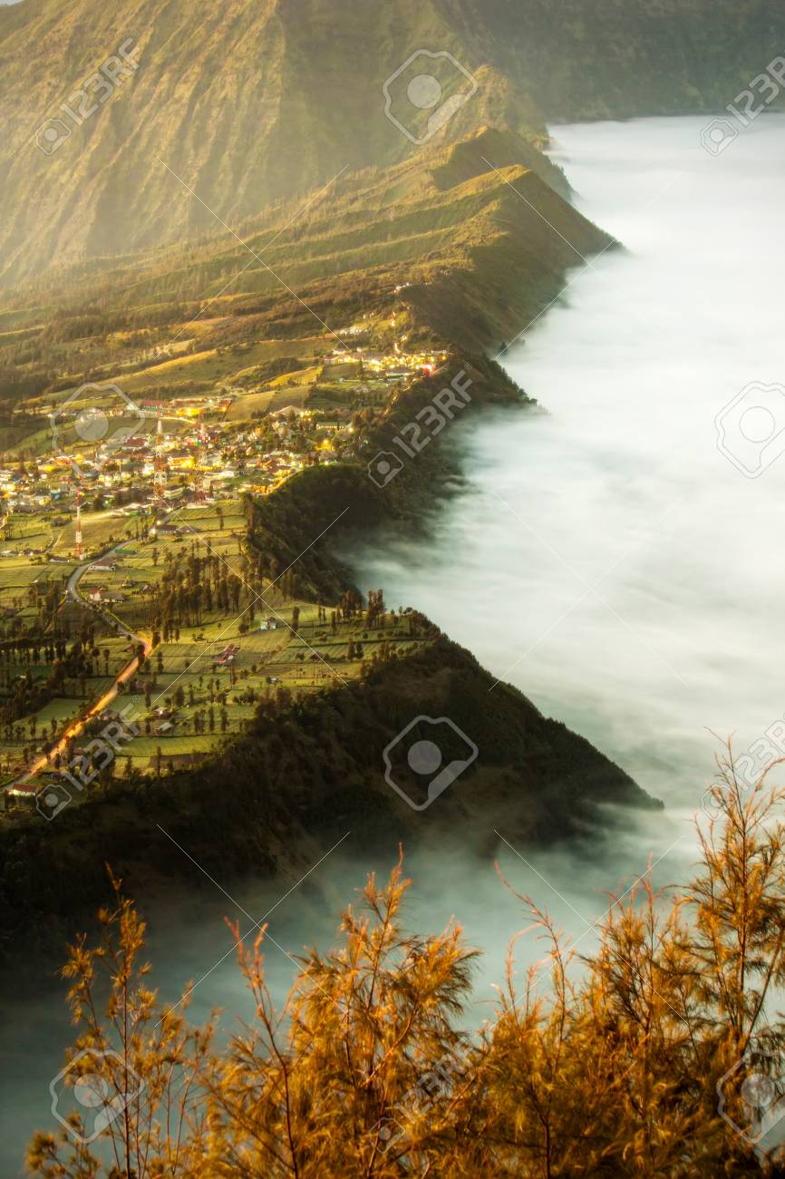 Bromo Village On The Mountain Cliff Background With Sunrise And 866x1300