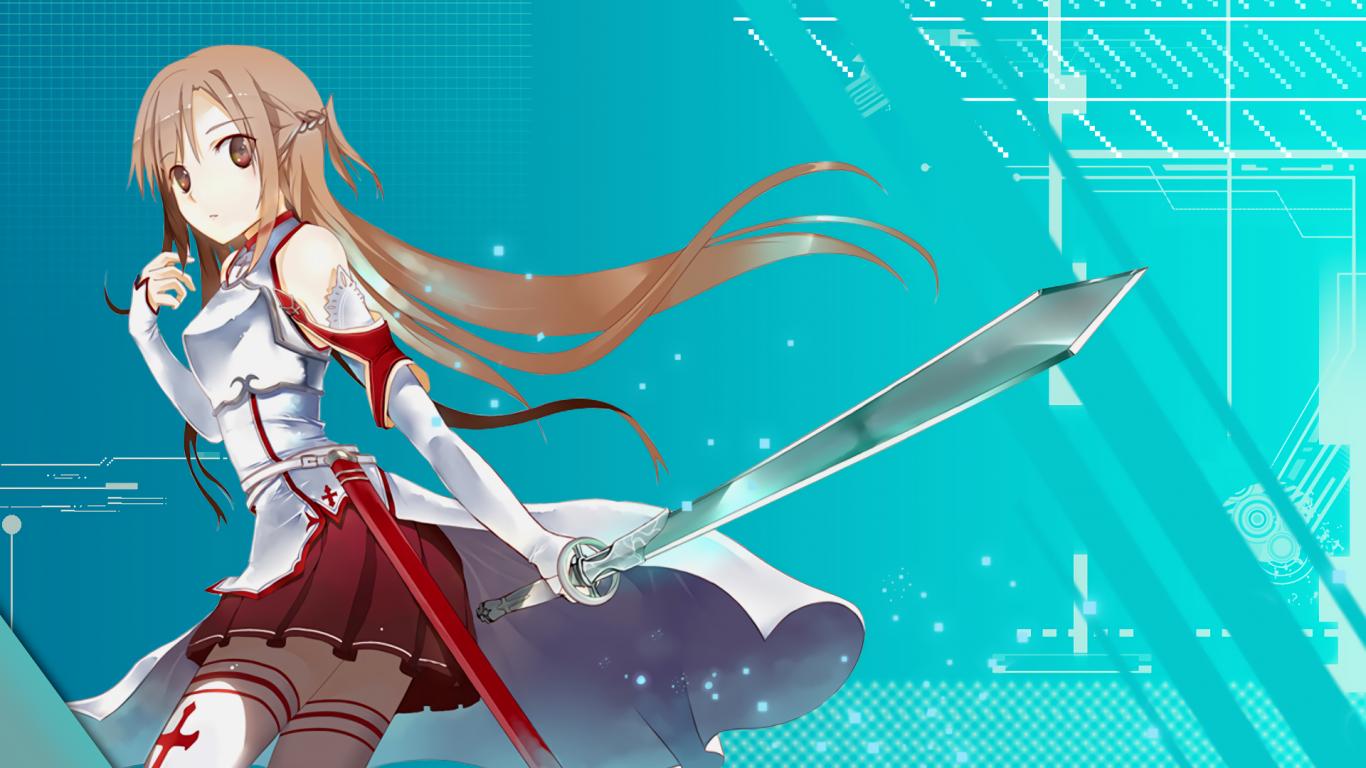 Yuuki Asuna Sword Art Online Long Hair Sword Armor   Sword Art 1366x768