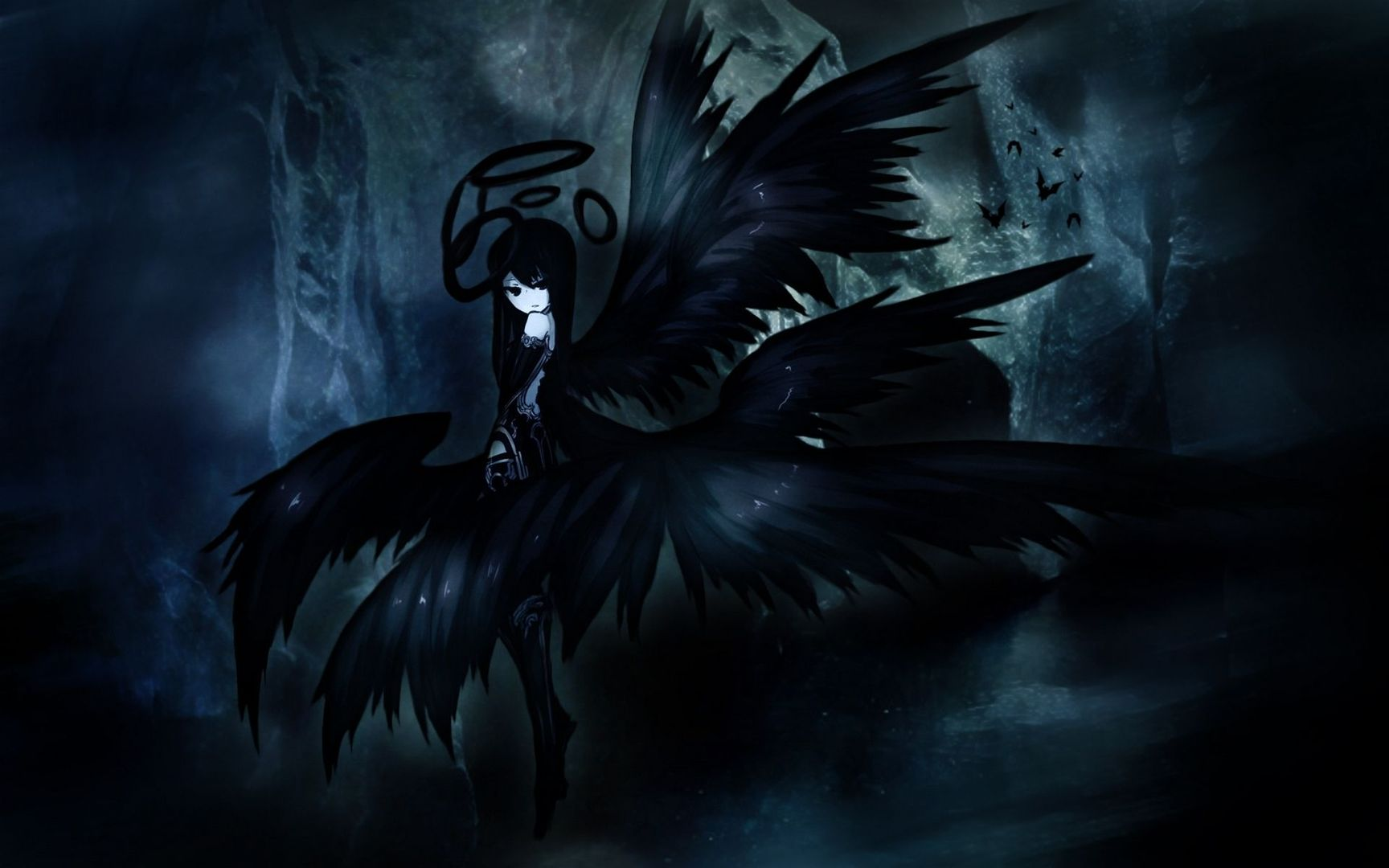 Download Anime black angel wallpaper 1728x1080