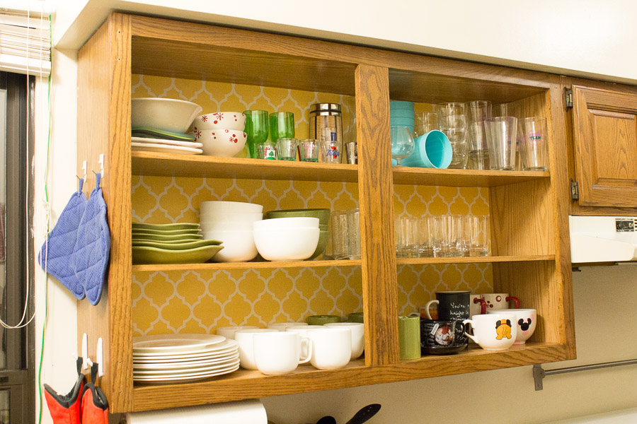 Ideas For Your Kitchen   Remove cabinet doors and wallpaper 900x600