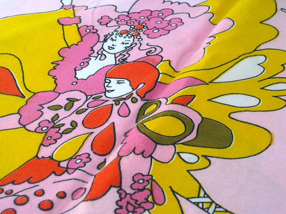 Vintage Fabric   Peter Max Design Style   Pink Psychedelic Mod 570x428