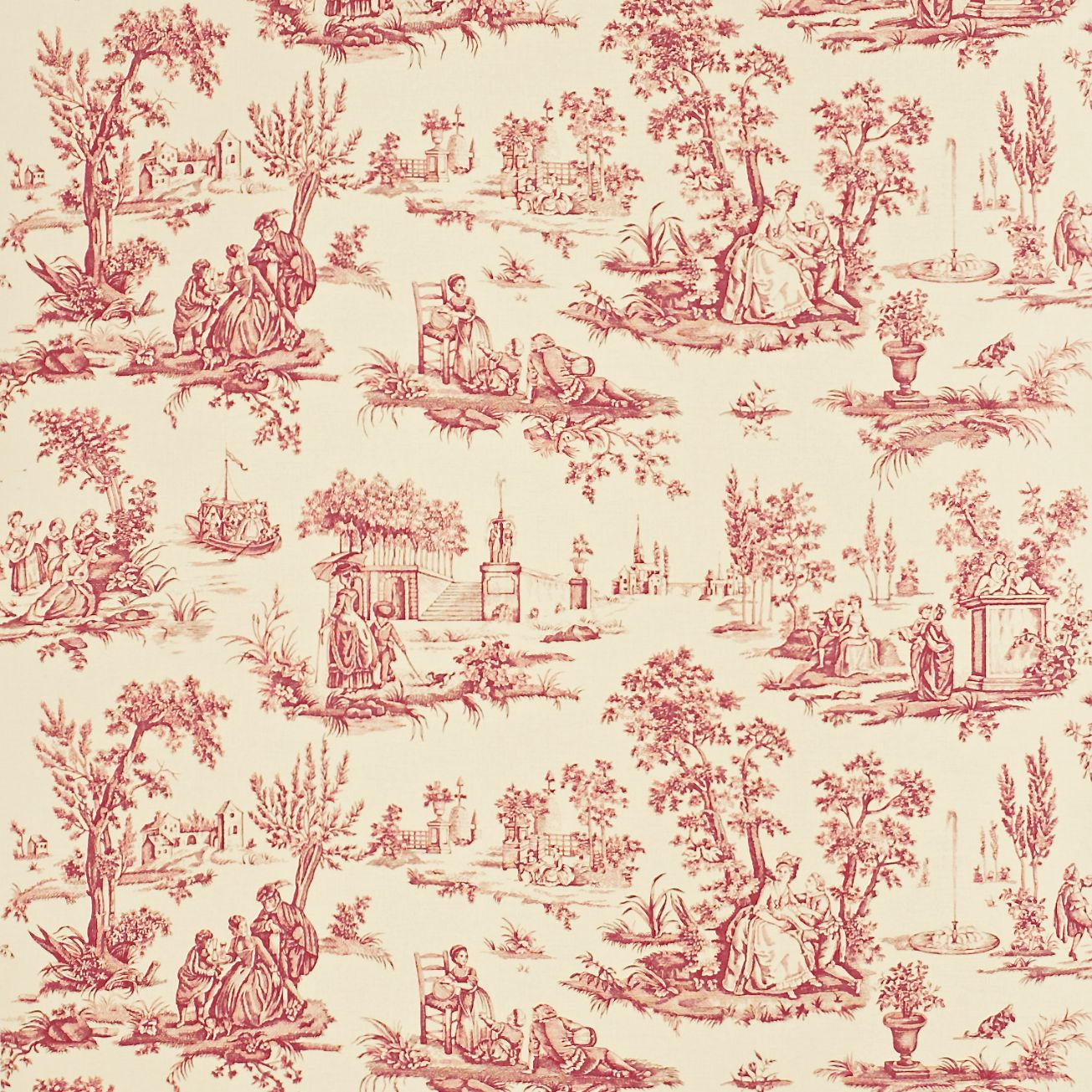 49 French Toile Wallpaper Red On Wallpapersafari
