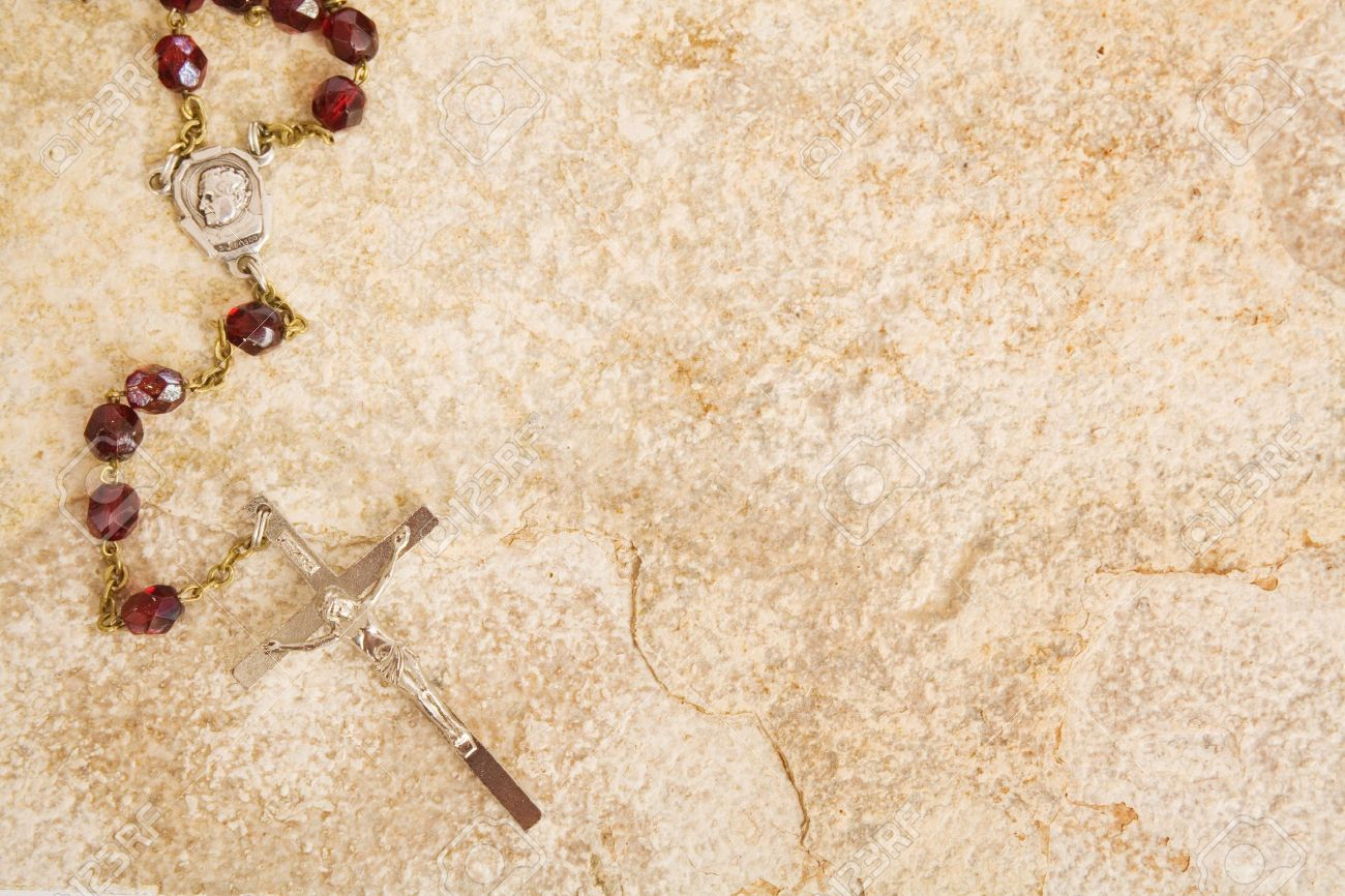 Rosary Beads On A Sandstone Background Stock Photo Picture And 1300x866