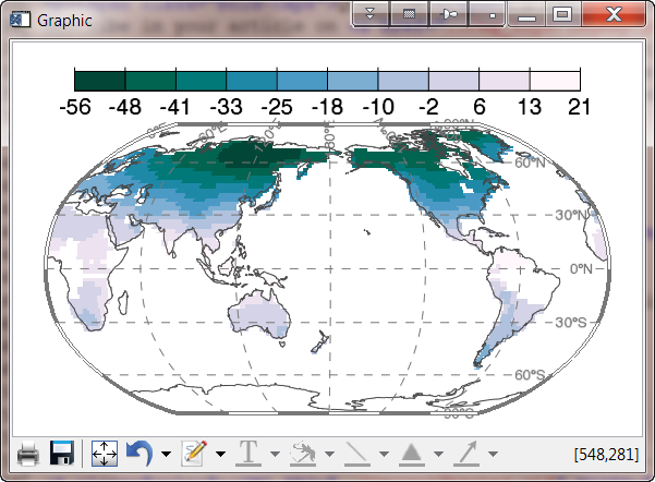 The output looks perfect using a Robinson map projection 601x442
