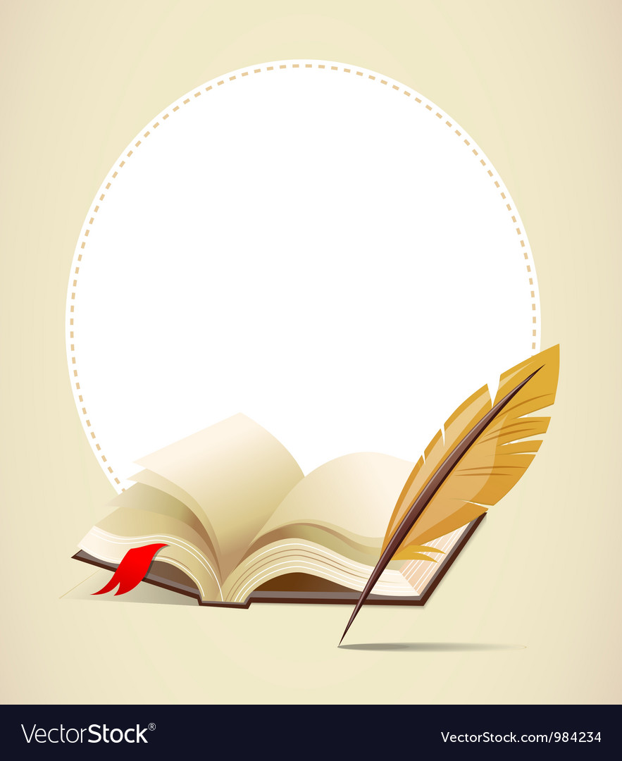 Background with old book and feather Royalty Vector 883x1080