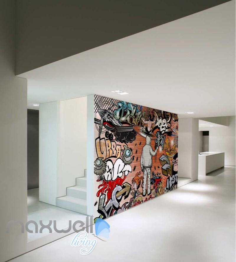 3D Graffiti Urban Plane Man Girl Art Wall Murals Wallpaper Decals 800x887