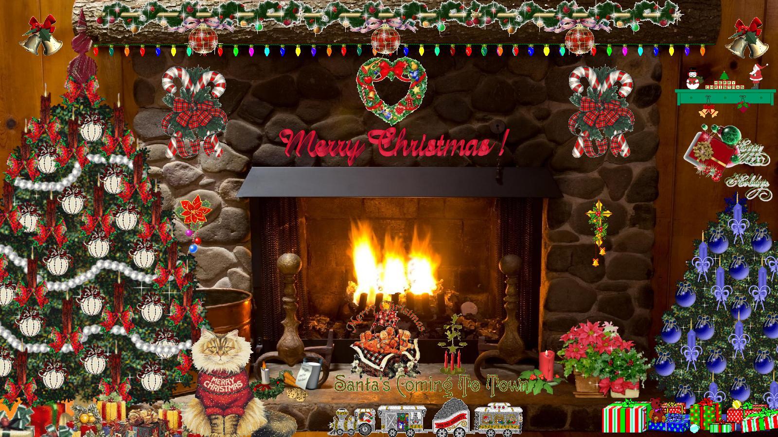 Pics Photos   Christmas Fireplace 1600x900