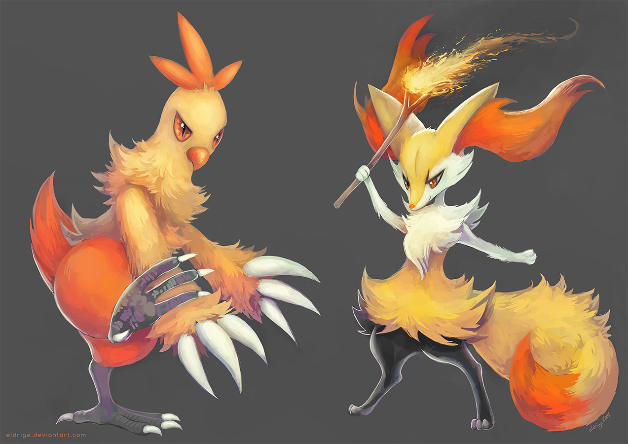 Combusken and Braixen by eldrige 1273x900