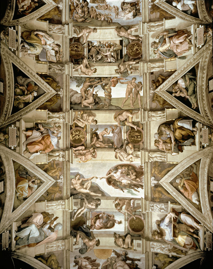Sistine Chapel Ceiling And Lunettes Wall Mural by Michelangelo 714x900