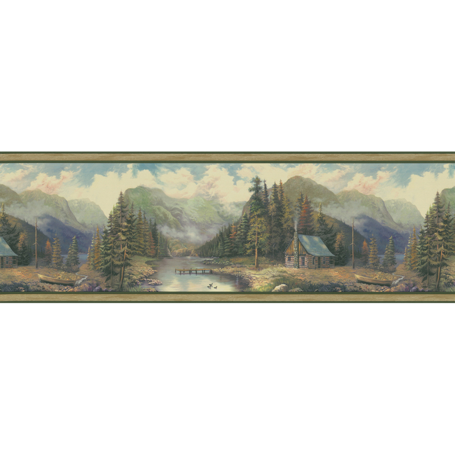 Green Forest Lodge Scenic Prepasted Wallpaper Border at Lowescom 900x900