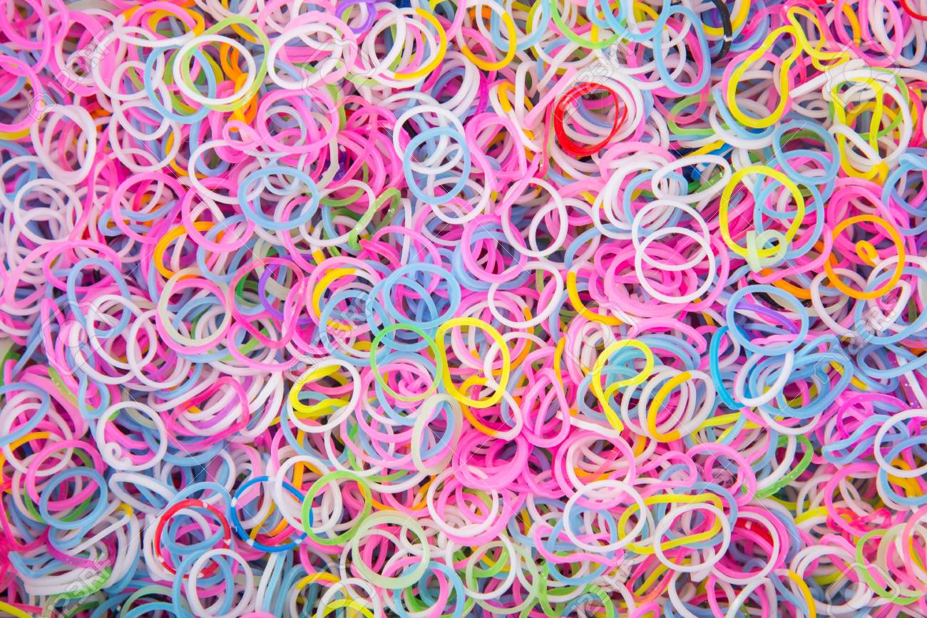 Colorful Background Rainbow Colors Rubber Bands Loom Stock Photo 1300x867