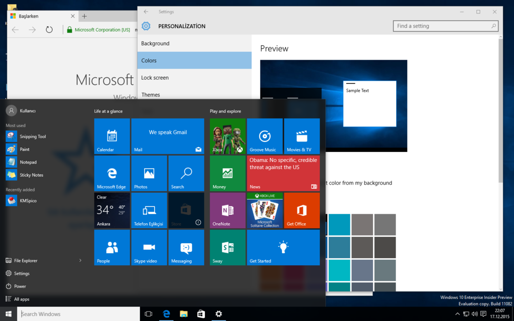 Windows 10 Redstone Insider Preview Build 11082 by furkooo85 on 1024x640