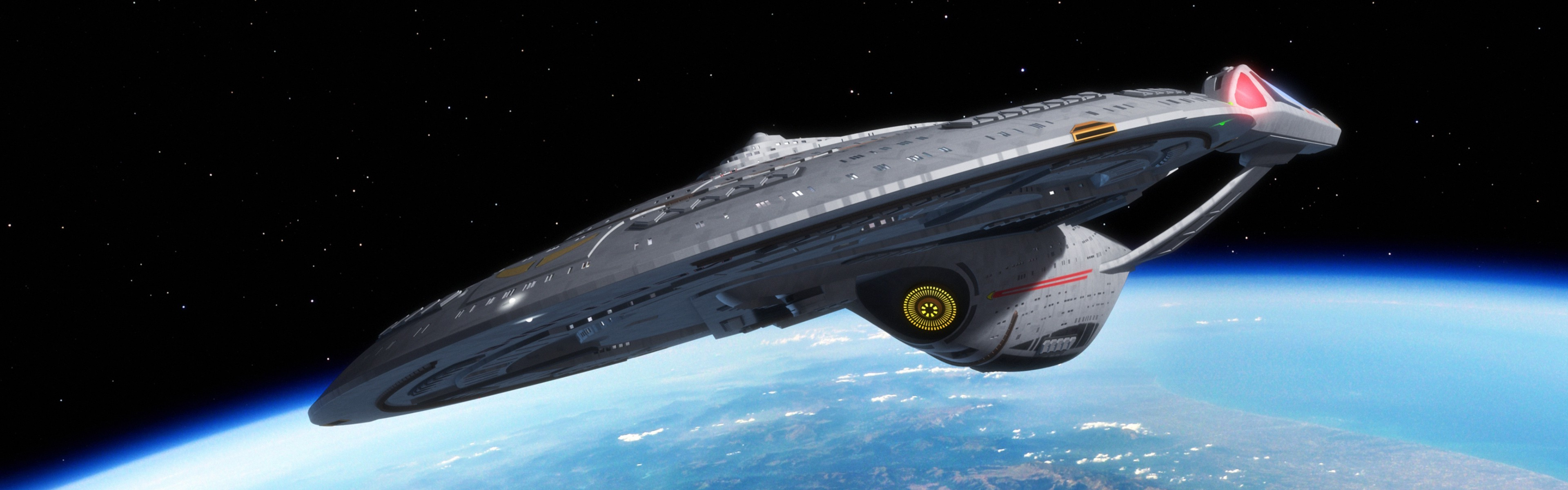 Star Trek USS Enterprise spaceship Space Multiple Display 3840x1200