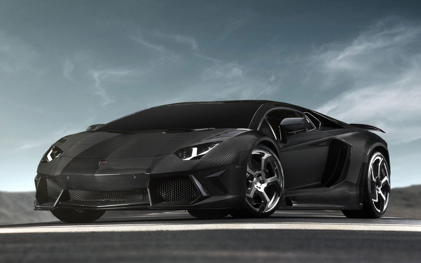 Black Lamborghini Aventador Widescreen HD Wallpaper 1440x900