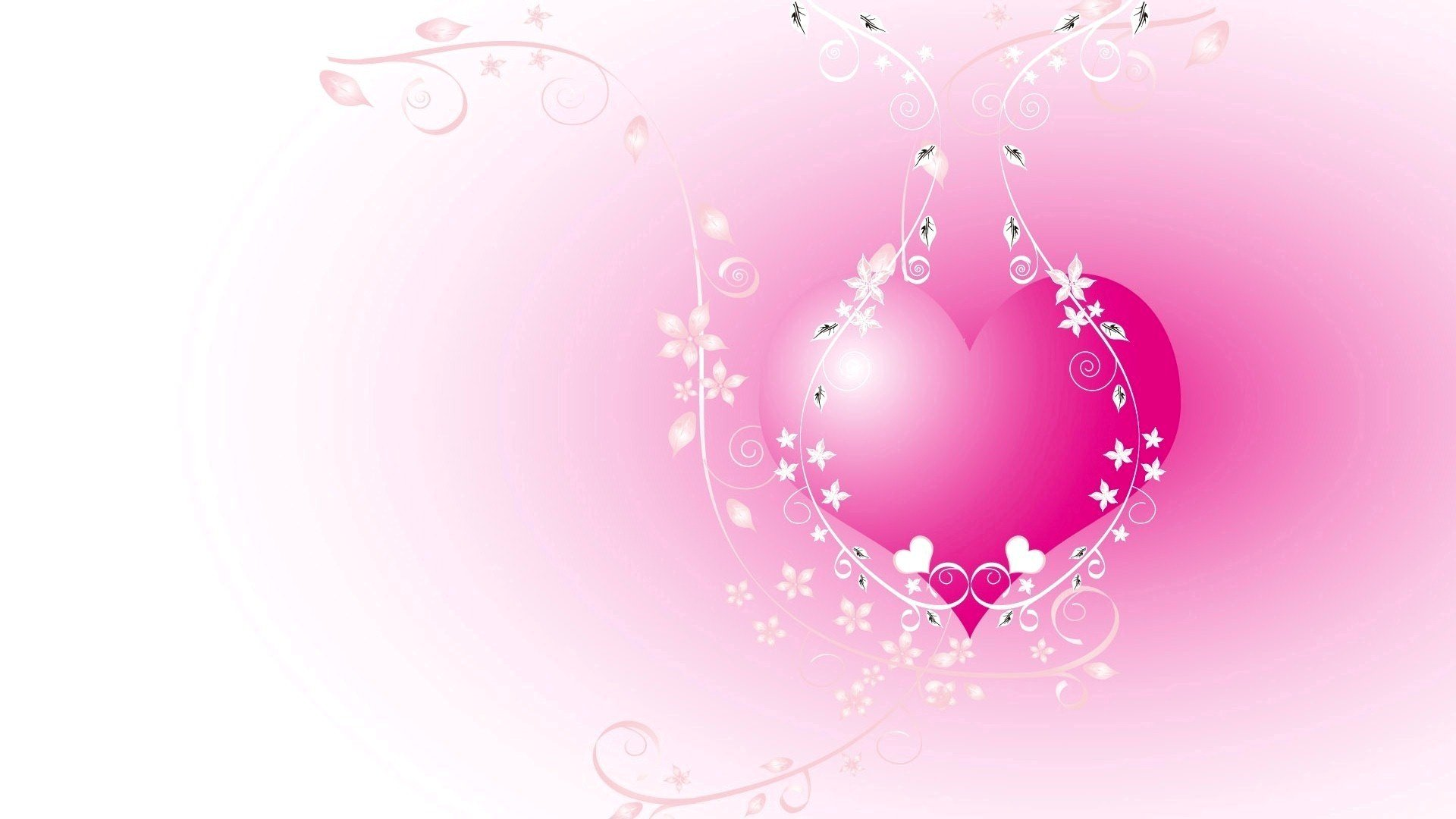Pink Heart with White Vector Design HD Wallpapers 1920x1080