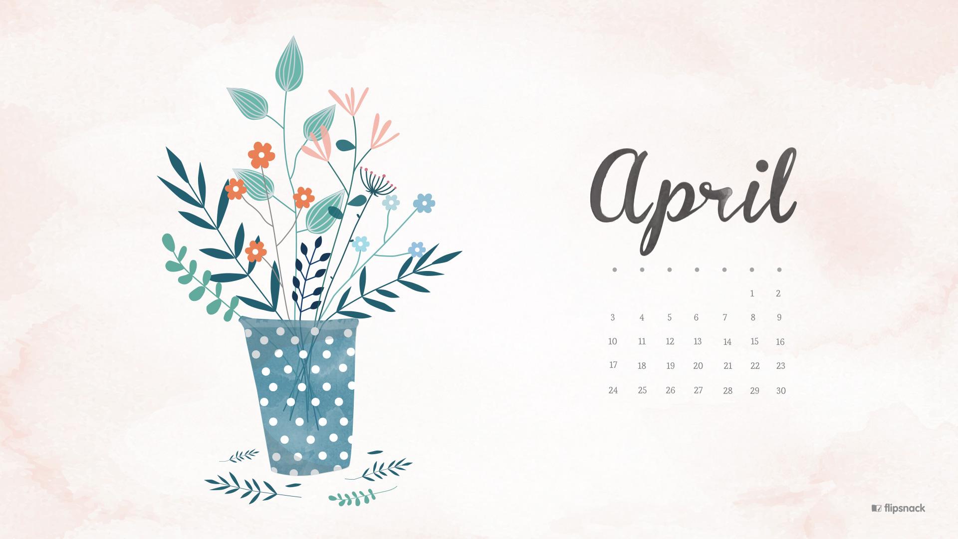April 2016 calendar wallpaper desktop background 1920x1080