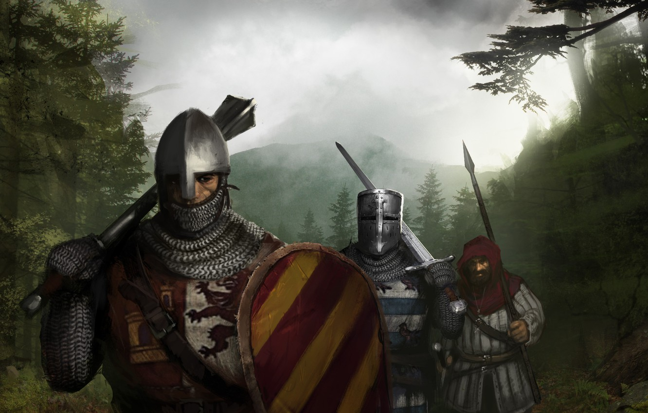 Wallpaper Sword Knights Mail Spear Shield The middle ages 1332x850