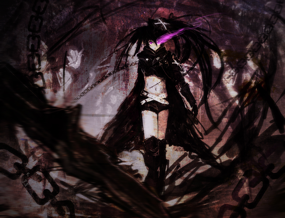 Free Download Armor Black Hair Black Rock Shooter Boots Chain