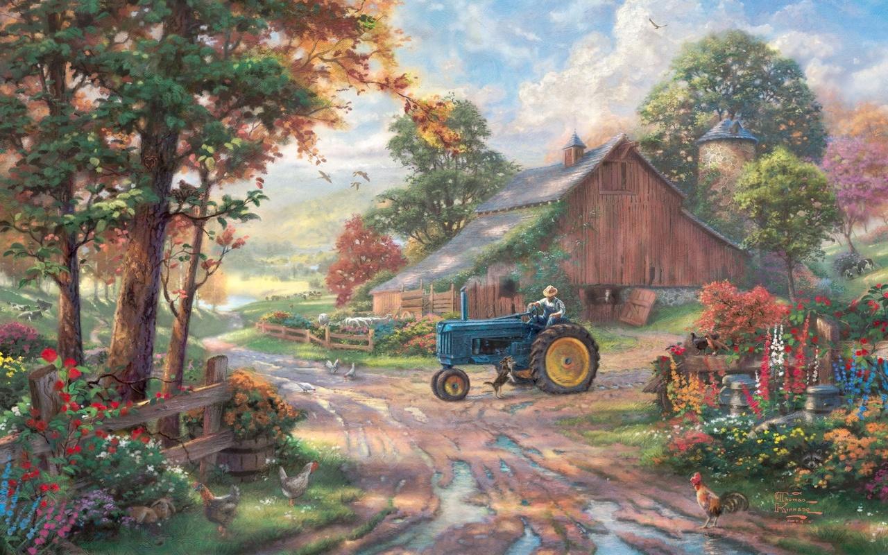 1280x800 barn thomas kinkade summer farm tractor man 1280x800