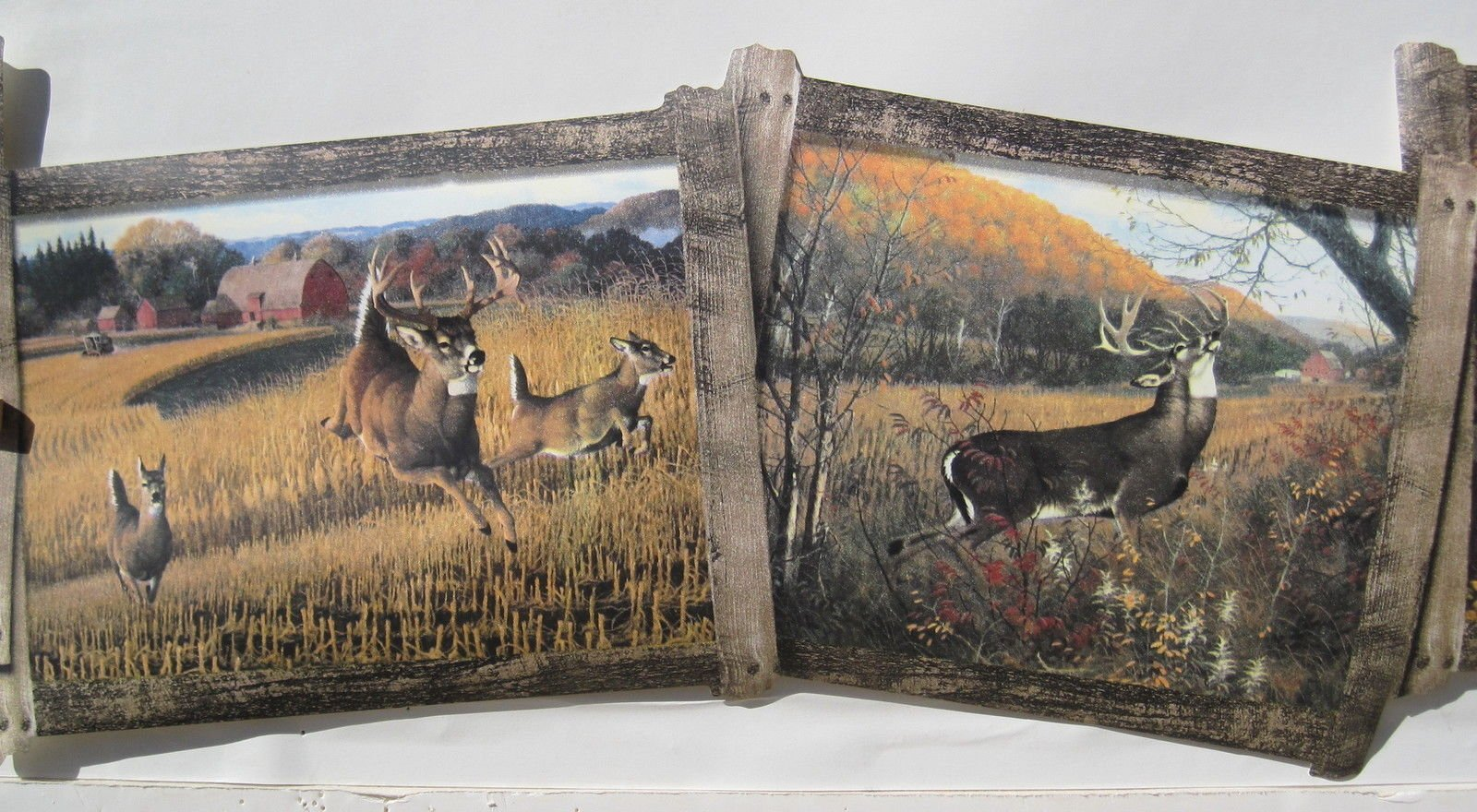 DEER DOE and BUCK HUNTING wallpaper border 8 12 1600x880