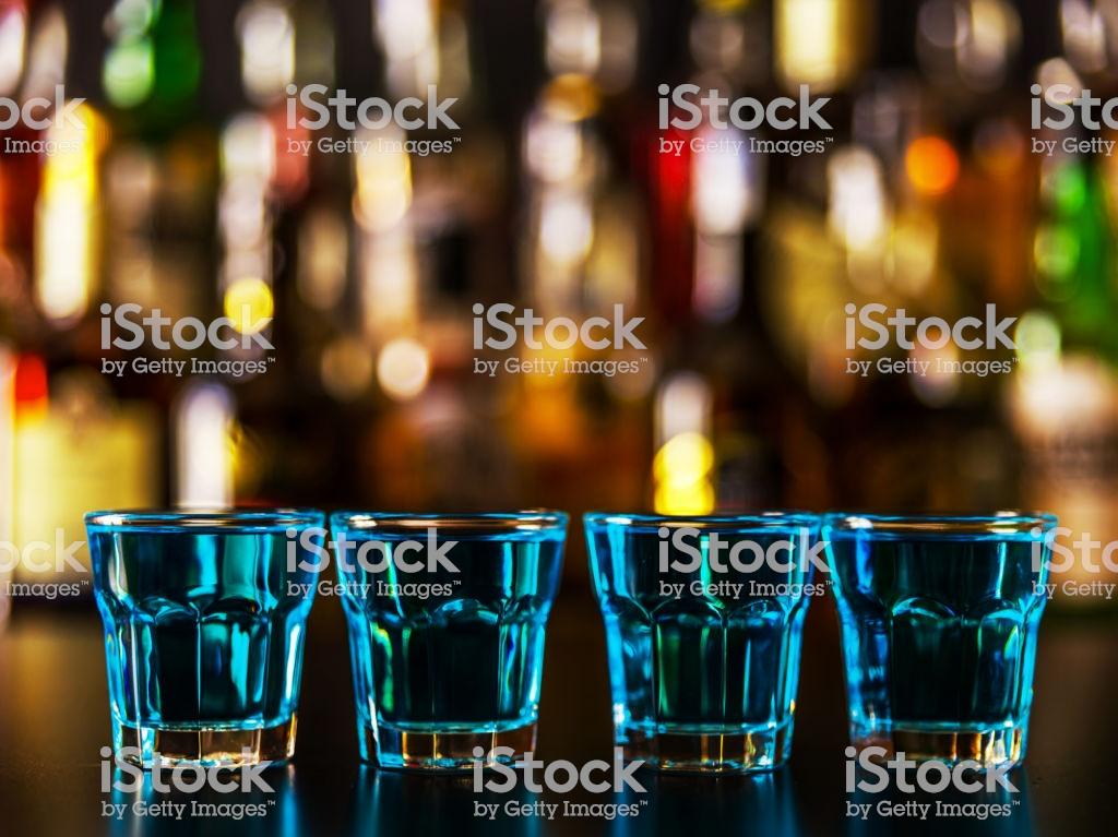 Popular Blue Drink Shot Kamikaze On The Background Of The Bar With 1024x767