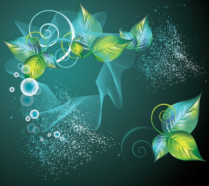 Abstract Green Swirl Floral Vector Background Bing Gallery 690x614