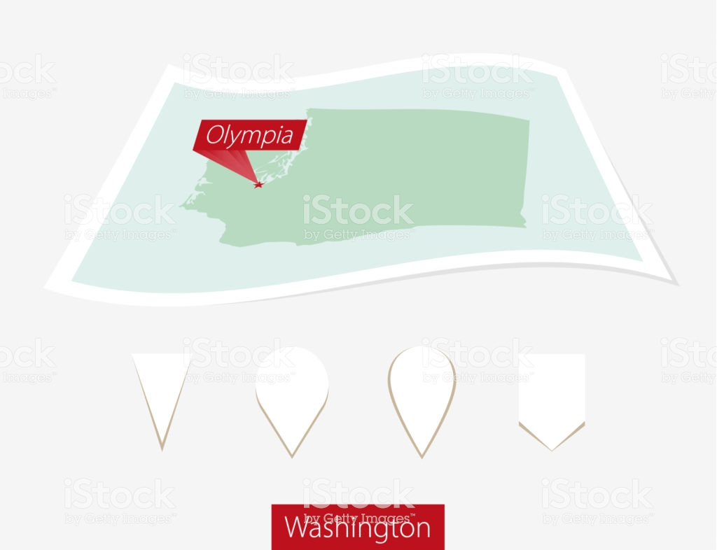 Curved Paper Map Of Washington State With Capital Olympia On Gray 1024x786