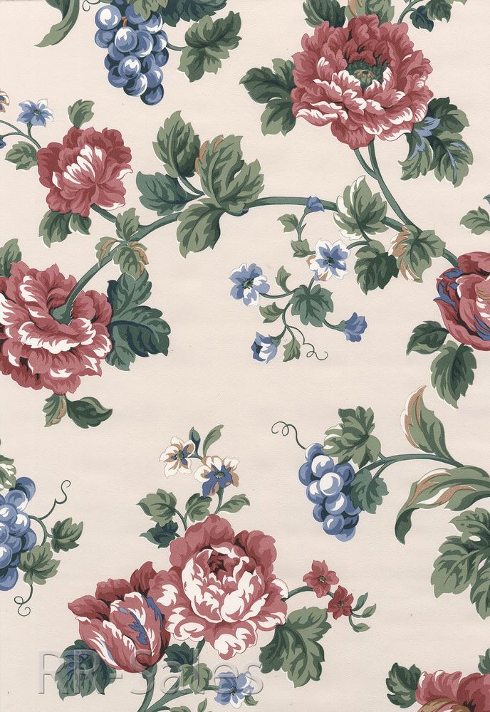 Pink Burgundy Blue Rose Flower Fruit Vintage Wall Wallpaper eBay 688x1000