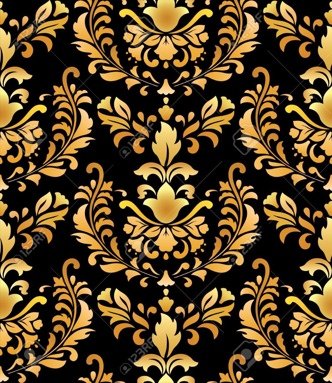 Black and gold wallpaper wallpapersafari for Black gold wallpaper designs