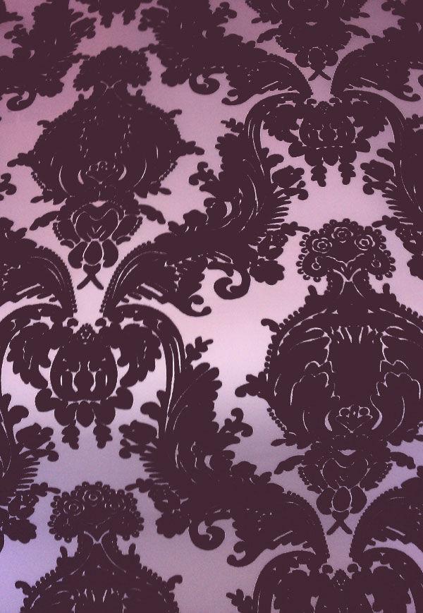 wallcoverings wallpapers walls flock velvet wallpaper purple flock 600x869