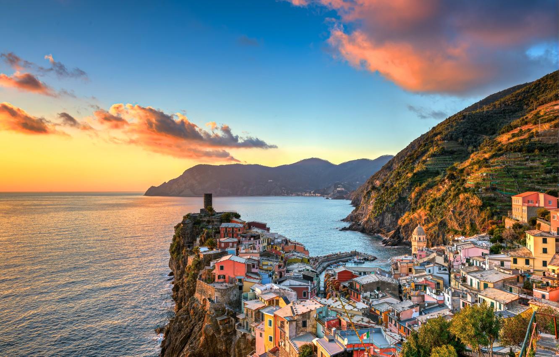 Wallpaper sea sunset mountains coast building Italy Italy 1332x850