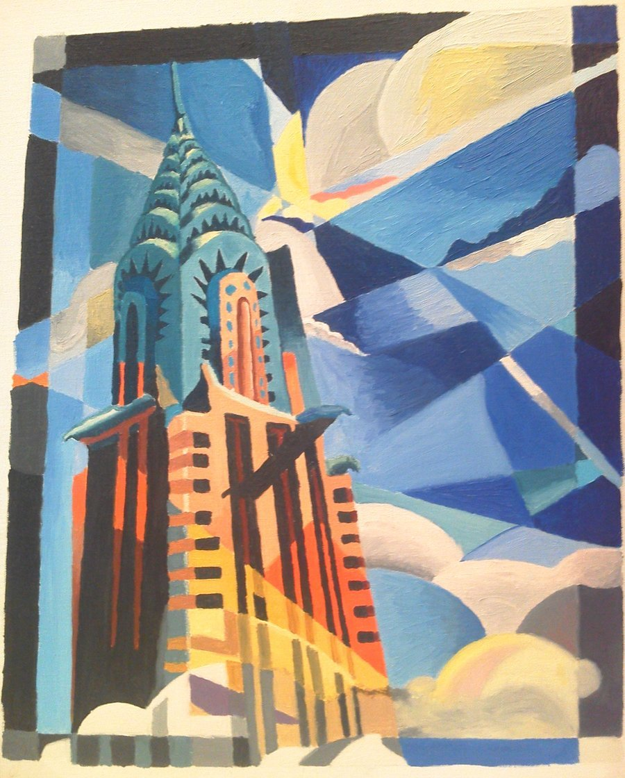 Chrysler Building Painting by almu92 Colorful 900x1120