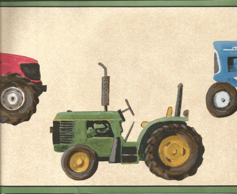 Tractor Green Blue Yellow Red Kid Child Wallpaper Border LK1535B 1000x821